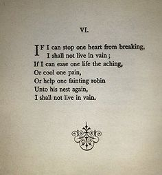 I shall not live in vain.