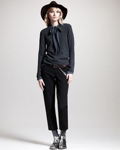 Brunello Cucinelli | Crewneck Elbow-Patch Sweater, Neck-Tie Blouse, Cropped Brushed Pants, Wide-Brim Hat & Leather Chain Belt