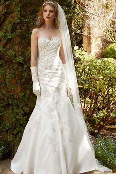 Davids Bridal  wg3477 - Gorgeous beaded fit and flare with chapel train! I want something like this someday!