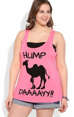 Deb Shops Plus Size Neon Hump Day Racerback Tank with Camel Screen $10.00