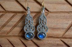 Macrame earrings labradorite earrings by EarthCraftHandmade