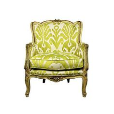 I have been in love with this chair for many years. The Cross Decor & Design Chair Redo, Sofa Chair, Upholstered Chairs, Jewel Tone Bedroom, French Chairs, Interior Decorating, Interior Design, Green Rooms, Vintage Chairs