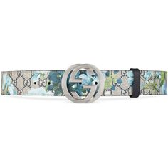 Gucci Gg Blooms Belt With G Buckle ($285) ❤ liked on Polyvore featuring men's fashion, men's accessories, men's belts, belts, accessories, blue, men, mens belts and mens blue belt