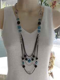 Black and Blue Necklace Long Necklace Multi by RalstonOriginals, $20.00