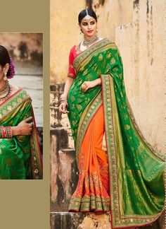 Women's Orange Lace, Printed & Embroidery Ethnic Saree ,Indian Dresses - 1