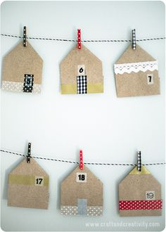 Advent calendar, House shaped favor bags - by Craft & Creativity Handmade Christmas Crafts, Frugal Christmas, Winter Christmas, Holiday Crafts, Christmas Time, Christmas Gifts, Advent Calenders, Diy Advent Calendar, Washi