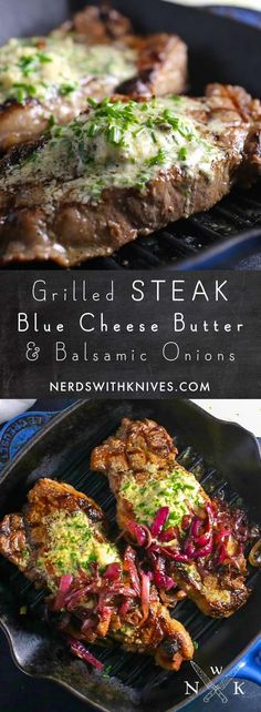 Grilled steak ramped up with a tangy, creamy blue cheese and chive compound butt. - Grilled steak ramped up with a tangy, creamy blue cheese and chive compound butter – watch out, s - Easy Steak Recipes, Grilled Steak Recipes, Healthy Diet Recipes, Grilled Meat, Healthy Meal Prep, Grilling Recipes, Beef Recipes, Cooking Recipes, Cooking Tips