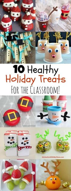 10 Healthy, Easy Holiday Treats for the Classroom that the kids will love! Perfect for winter and Christmas. Thanks Momables
