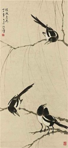 Xu Beihong (Chinese: 1895 - 1953) - Magpies (1938)