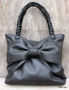 Over sized Bow Leather Tote Bag in Black Calfskin