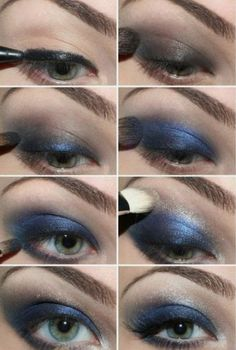 Smokey Eye in blue... Apply  Mary Kay Gel Eyeliner in black, then Truffle Mineral Eye Color, then Peacock Blue, and finish with Crystalline :) www.marykay.com/kgenoa