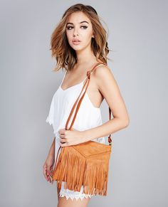 Fringe Faux Leather Crossbody Bag | Wet Seal