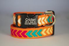 Beautiful Sierra Stripe Fiesta dog collar…colors include red, orange, saffron, teal and cream on an orange background. The perfect collar for all