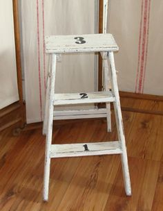 White Chipped Ladder...with No.'s...