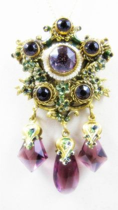 Stunning Victorian Austro Hungarian Amethyst Glass Seed Pearl Enamel Antique Necklace Singed Czech on Etsy, $144.00