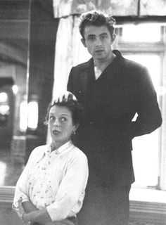 Candid snap of James Dean and Mary Astor, 1950s