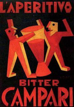 Fortunato Depero realizza una serigrafia su tela, 1927, per la pubblicità del Campari