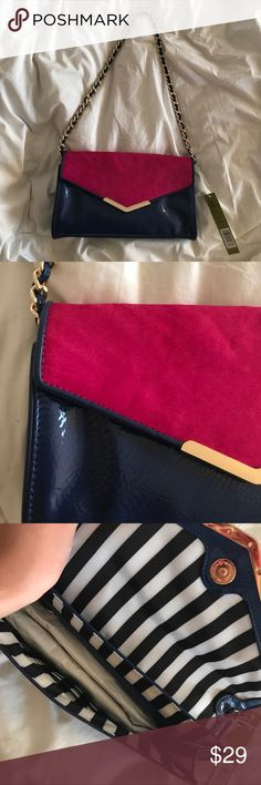Gianni Bini flap bag super cute bag, NWT, has the tissue paper inside still. navy blue bag with gold hardware and pink/fuchsia fur/cows hair on the front. Gianni Bini Bags Shoulder Bags