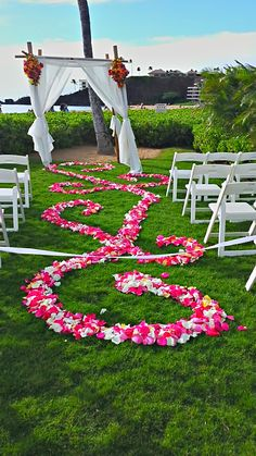 Swirls of vibrancy for a lawn on the beach wedding