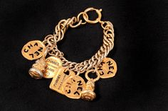 Authentic Chanel VTG Gold Tone CC Logo 7 Charm Chunky Chain Bracelet 80s Estate #CHANEL #Bracelet