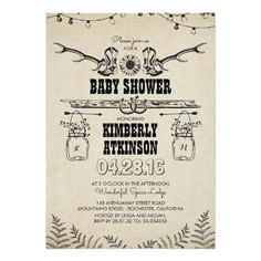 vintage woodland deer antler baby shower card | mom and kids, Baby shower invitations