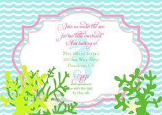 MERMAID Birthday Invitation-Under The Sea-DIY Printable Invitation- By A Blissful Nest. via Etsy.