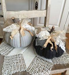 Sweater Pumpkins Set Of 2 Lt Grey and Dark by Sweater Pumpkins, Wood Pumpkins, Fabric Pumpkins, Fall Pumpkins, Shabby Chic Pumpkins, Fall Crafts, Diy Crafts, Elegant Fall Wreaths, Beaded Earrings Patterns