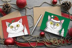 Cat Christmas cards - set of 6, featuring my original illustrations of a festive kitty cats - a fluffy white persian cat and stripy grey tabby cat all ready for Christmas! Purrfect to send to any cat loving friends and family this Christmas! Set of 6 Christmas cat cards made up on 2 designs, 3 white fluffy persian cats and 3 grey tabby cats.  Printed on lovely thick 350gsm white card stock  Blank inside and come with matching natural brown kraft envelopes.  Cards measure 150mm x 108mm…