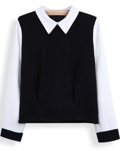 Black Contrast Lapel Long Sleeve Crop Blouse US$31.48