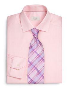 Plaid Tie + Pink Shirt