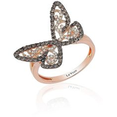 Levian 14K  Chocolate-and-Vanilla Diamond Butterfly Ring ($1,350) ❤ liked on Polyvore featuring jewelry, rings, rose gold, womens jewellery, 14k jewelry, butterfly ring, chocolate rings and chocolate diamond jewelry