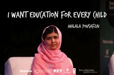 """'I want education for every child."" - Malala Yousafzai, 2014 Liberty Medal recipient. #NCCLibertyMedal"