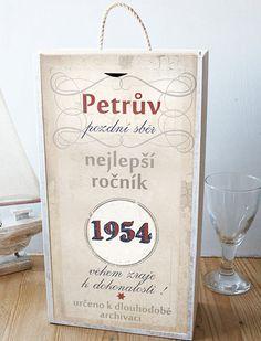 Originální dárek k narozeninám, krabice na víno se jménem a rokem narození Diy And Crafts, Presents, Scrapbook, Memories, Words, Birthday, Party, Gifts, Handmade