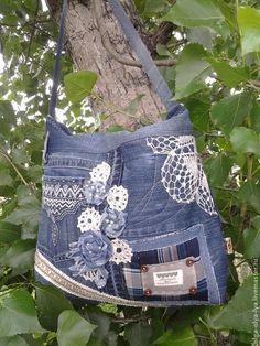 Купить сумка-бохо Деревенские каникулы. - джинсовый стиль, бохо-стиль, голубой, женская сумка