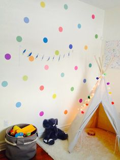 36 Confetti Rainbow of Colors Polka Dot Wall by WallDressedUp