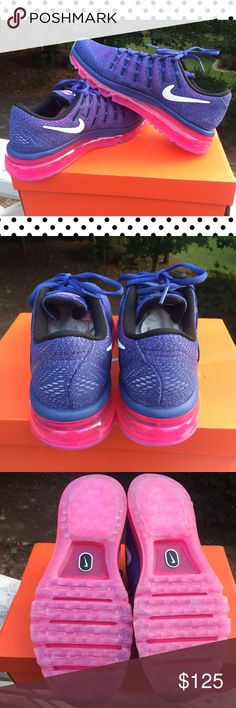 Brand New  Nike Air Max 2016 Great deal! These pretty BRAND NEW Nike Air Max look great in the gym or with your casual attire. They are unique blueish:purple accented in pink and white. nike Shoes Athletic Shoes
