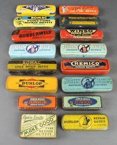 Lot 300, 5 John Bull Puncture Repair Outfit tins, 2 Dunlop Puncture Repair Outfit tins and various other puncture repair outfit tins, est £30-50