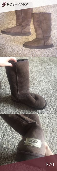 Ugg sheepskin fur tall chocolate dark brown boots Nice ugg boots in a gorgeous dark brown. Tall style to keep you extra warm! Size 10. These do have overall normal wear and use. Light spots, can be removed. The bottom sole is worn. UGG Shoes Winter & Rain Boots