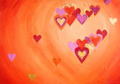 Schilderij Hartig hart   Een abstract, kleurrijk 3D schilderij van 70 x 100 x 4 cm in oranje, rood, roze en goud met een hart van linnen hartjes erop.   http://marloesvanzoelen.nl/schilderijen/hartig-hart/