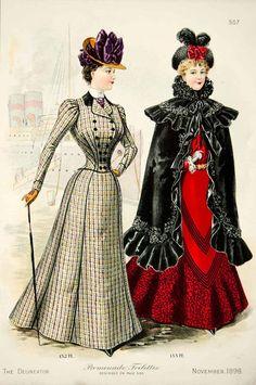 1898 Lithograph Victorian Women Promenade Toilette Costume Fashion Clothing Coat | eBay