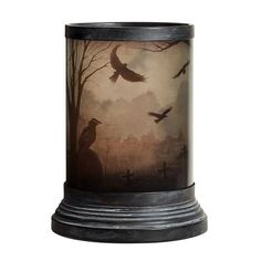 Pottery Barn Spooky Crows Hurricanes - Black ($31) ❤ liked on Polyvore featuring home, home decor, candles & candleholders, black home decor, black candlestick holders, halloween candles, pottery barn candles and black candle holders