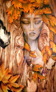 """""""And the sun took a step back, the leaves lulled themselves to sleep and autumn was awakened, the years last loveliest smile""""  Oil paint on wood-high gloss varnish Image size: 24 width X 36 height 2017 edition of: 4"""