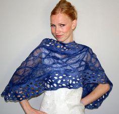 Navy Blue Nuno Felt Lace Shawl Wrap by vilma