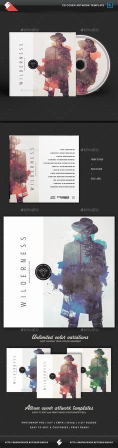 Wilderness  Creative CD Album Cover Template  — PSD Template #5x5 #music • Download ➝ https://graphicriver.net/item/wilderness-creative-cd-album-cover-template/18121306?ref=pxcr