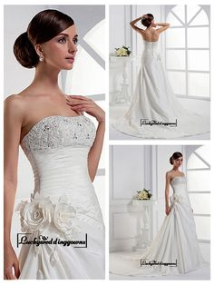Alluring Taffeta A-line Strapless Neckline Empire Waist Beaded Lace Appliques Wedding Gown With Handmade Flowers http://www.ckdress.com/alluring-taffeta-aline-strapless-neckline-empire-waist-beaded-lace-appliques-wedding-gown-with-handmade-flowers-p-1530.html  #wedding #dresses #party #Luckyweddinggown #Luckywedding #design #style #weddingdresses #bridaldresses #love #me #cute #beautiful #girl #shopping #lovely #clothes #instagood #follow #fashion