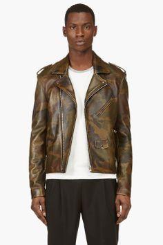 PYER MOSS Green Leather Camo Killer Biker Jacker