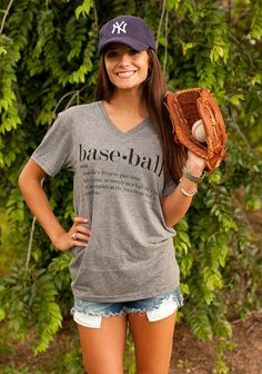 I think I'd play baseball if I could look this cute! Baseball Tee from August Bleu Baseball Game Outfits, Baseball Shirts, Baseball Games, Baseball Training, Baseball Girlfriend Shirts, Baseball Gear, Baseball Sayings, Baseball Equipment, Baseball Stuff