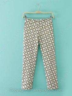 White Geometric Print Fashion Pant -$20.99