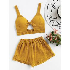 SheIn(sheinside) Knotted Keyhole Front Textured Crop Top With Shorts ($16) ❤ liked on Polyvore featuring tops, khaki, sleeveless tops, brown crop top, khaki crop top, cut-out crop tops and textured crop top