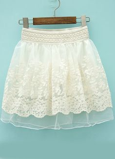 White Elastic Waist Floral Crochet Lace Skirt - Fashion Clothing, Latest Street Fashion At Abaday.com